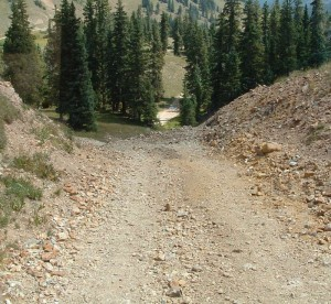 The hill at the start of the Black Bear Pass Fork on the Left