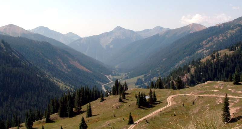 Looking down the Million Dollar Highway towards Silverton Colorado.