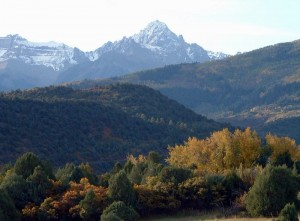 Mt Sneffels from near the entrance of the Double RL Ranch.