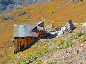 The Boarding House of the Mountain Top Mine and the Boulder that splits the Snow Slides and helped preserve this structure!