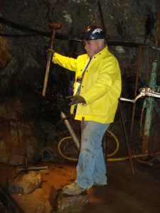 A Old Hundred Gold Mine Tour Guide hard at work!